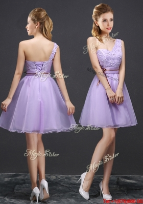 Latest Applique Lace Up Short Bridesmaid Dress with One Shoulder