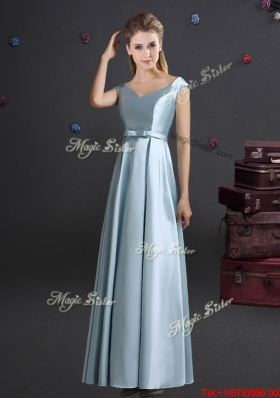 Lovely Bowknot Off the Shoulder Bridesmaid Dress in Light Blue