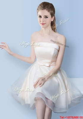 Lovely Bowknot Off White Bridesmaid Dress with Strapless