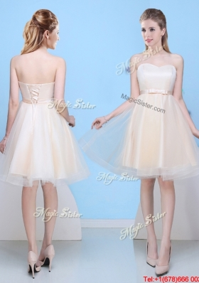 Low Price Champagne A Line Sweetheart Bridesmaid Dress with Bowknot