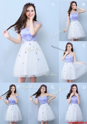 Luxurious Applique White and Lavender Short Bridesmaid Dress in Tulle