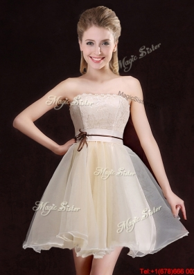 Luxurious Laced and Belted A Line Short Bridesmaid Dress in Organza