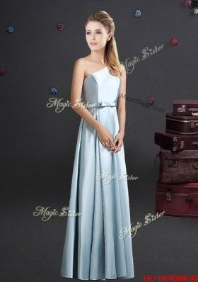 Luxurious Light Blue Long Bridesmaid Dress with One Shoulder