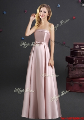 Modern Bowknot Empire Floor Length Bridesmaid Dress with Strapless