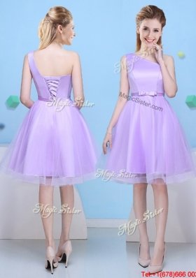 Modern Lavender A Line Short Bridesmaid Dress with One Shoulder