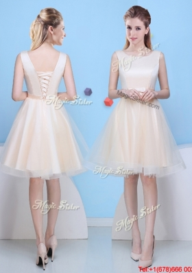 New Arrivals Champagne Scoop Bowknot Bridesmaid Dress in Mini Length