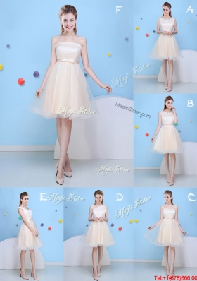 New Style Bowknot Tulle A Line Bridesmaid Dress in Champagne