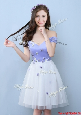Popular Applique Short Bridesmaid Dress with Off the Shoulder