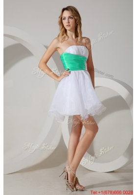 Popular Mini Length Bridesmaid Dress with Belt and Beading
