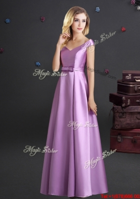 Pretty Off the Shoulder Lilac Bridesmaid Dress with Cap Sleeves