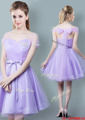 Romantic Lavender Short Bridesmaid Dress with Bowknot and Ruching