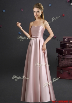 Romantic Sweetheart Bowknot Empire Long Bridesmaid Dress in Pink