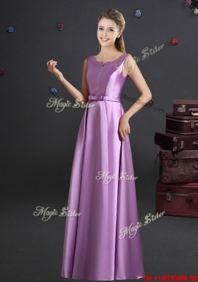Wonderful Straps Elastic Woven Satin Bridesmaid Dress in Lilac