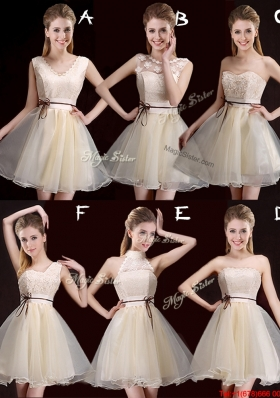 Discount Belted Champagne Short Prom Dress in Organza for 2017