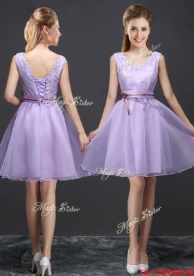 Fashionable Belted and Laced V Neck Short Prom Dress in Lavender