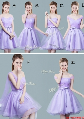 Hot Sale Tulle Lavender Prom Dress with Bowknot and Ruching