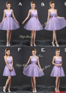 Simple Organza A Line Belted Prom Dress in Lavender