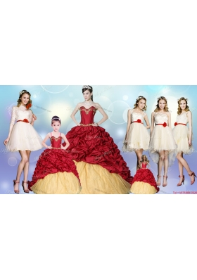 Fashionable Brush Train Quinceanera Dress with Beading and Pick Ups and Best Spaghetti Straps Mini Quinceanera Dress and Luxurious Champagne Short Dama Dresses with Hand Made Flower