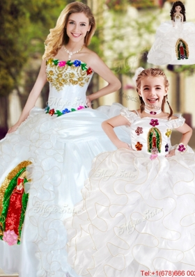 Modest White Princesita Quinceanera Dresses with Ruffles and Appliques