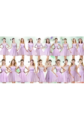 Most Popular Lilac Empire Chiffon Bridesmaid Dresses in Mini Length