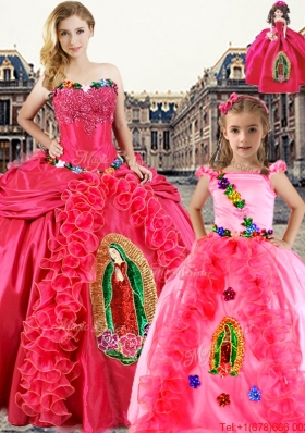 Popular Ruffled and Applique Princesita Quinceanera Dresses in Coral Red