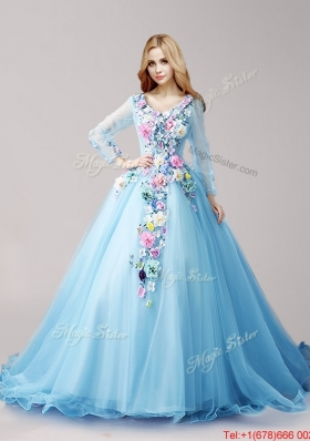 Classical V Neck Long Sleeves Baby Blue Quinceanera