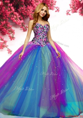 Modest Beaded Really Puffy Tulle Sweet 16 Dress in Rainbow