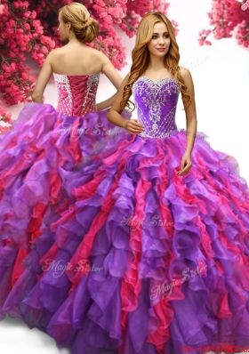 Two Tone Big Puffy Quinceanera Dress with Beading and Ruffles