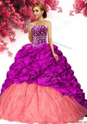 Latest Taffeta Brush Train Quinceanera Dress with Beading and Pick Ups