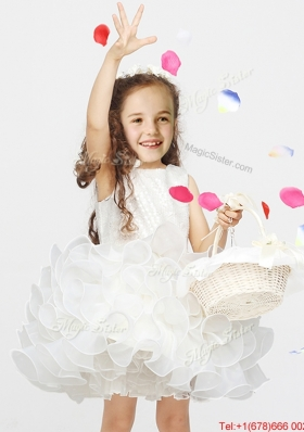 Beautiful Laced and Ruffled Short Flower Girl Dress in Organza