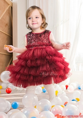 Best Sequined and Ruffled Layers Short Flower Girl Dress in Wine Red