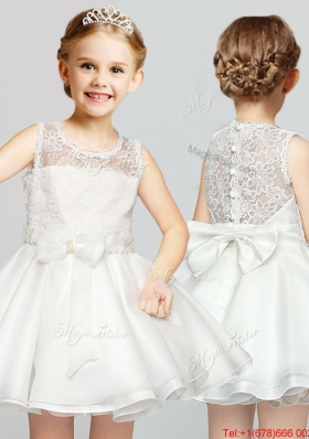 Classical Scoop A Line Laced and Bowknot White Flower Girl Dress for 2017