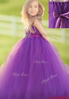 Eggplant Purple Flower Girl Dress with Handcrafted Flower and Bowknot