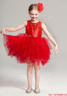 Exclusive Applique and Ruffled Scoop Flower Girl Dress in Red