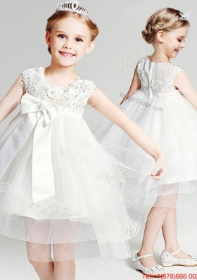 Exquisite Knee Length Flower Girl Dress with Appliques and Bowknot