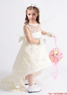 Hot Sale See Through Rolling Flowers Flower Girl Dress with Bowknot