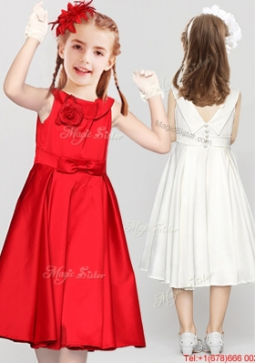 Latest Tea Length Button Up Red Flower Girl Dress with Handmade Flower