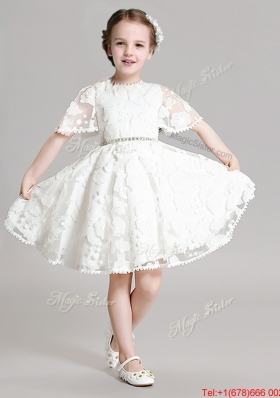 Lovely Short Sleeves Flower Girl Dress with Appliques and Beading