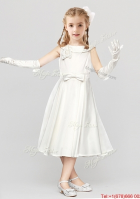 Modest Button Up Bowknot Scoop Flower Girl Dress in Tea Length