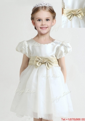 New Arrivals Knee Length Bowknot Flower Girl Dress with Short Sleeves