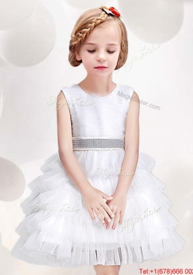 New Style Scoop White Flower Girl Dress with Ruffled Layers and Bowknot
