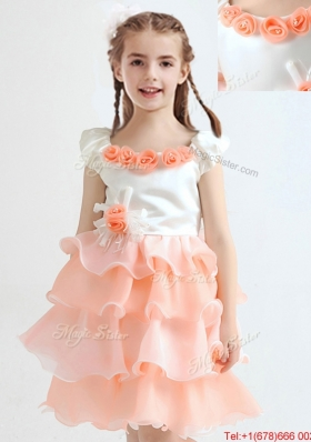 Popular White and Peach Flower Girl Dress with Ruffled Layers