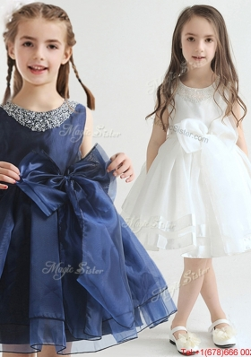 Simple Organza Scoop Flower Girl Dress with Beaded Top and Bowknot for 2017