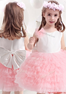 2017 Discount Pink and White Flower Girl Dress with Bowknot and Ruffled Layers