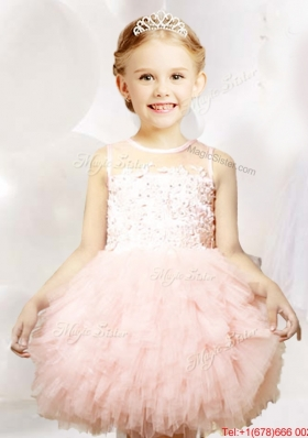 Best Selling See Through Tulle Flower Girl Dress with Appliques and Ruffles