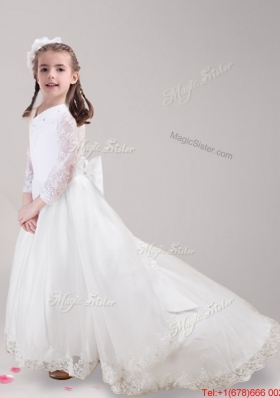 Informal Brush Train Bowknot and Laced Flower Girl Dress with Long Sleeves