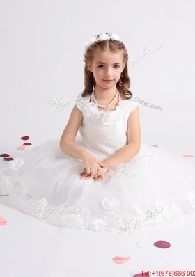 New Cap Sleeves Flower Girl Dress with Handcrafted Flowers Decorated Scoop