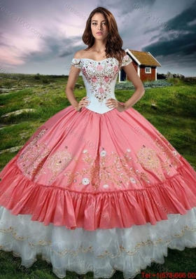 2017 Gorgeous Off the Shoulder Watermelon Red and White Quinceanera Dress with Embroidery