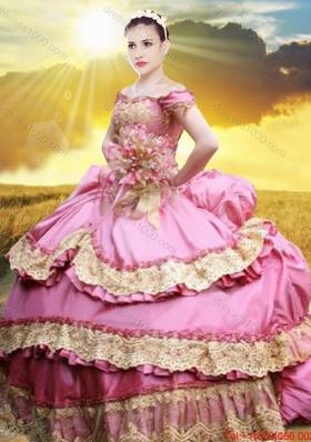2017 Pretty Applique and Laced Bubble Taffeta Quinceanera Dress in Rose Pink