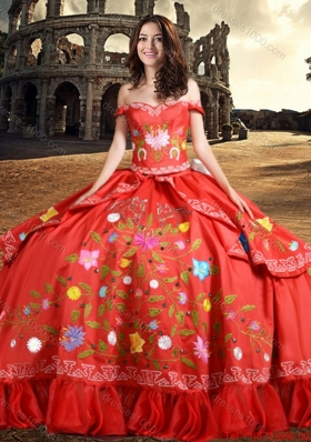 2017 Western Style Fashionable Off The Shoulder Taffeta Quinceanera Dress with Embroidery and Bowknot